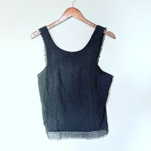 NEW Who What Where Black Crochet Tank
